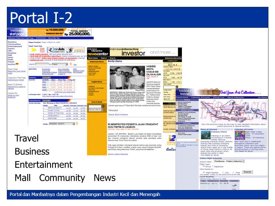 Portal dan Manfaatnya dalam Pengembangan Industri Kecil dan Menengah Travel Business Entertainment Mall Community News Portal I-2