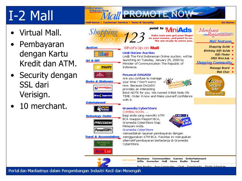 Portal dan Manfaatnya dalam Pengembangan Industri Kecil dan Menengah I-2 Mall Virtual Mall. Pembayaran dengan Kartu Kredit dan ATM. Security dengan SS