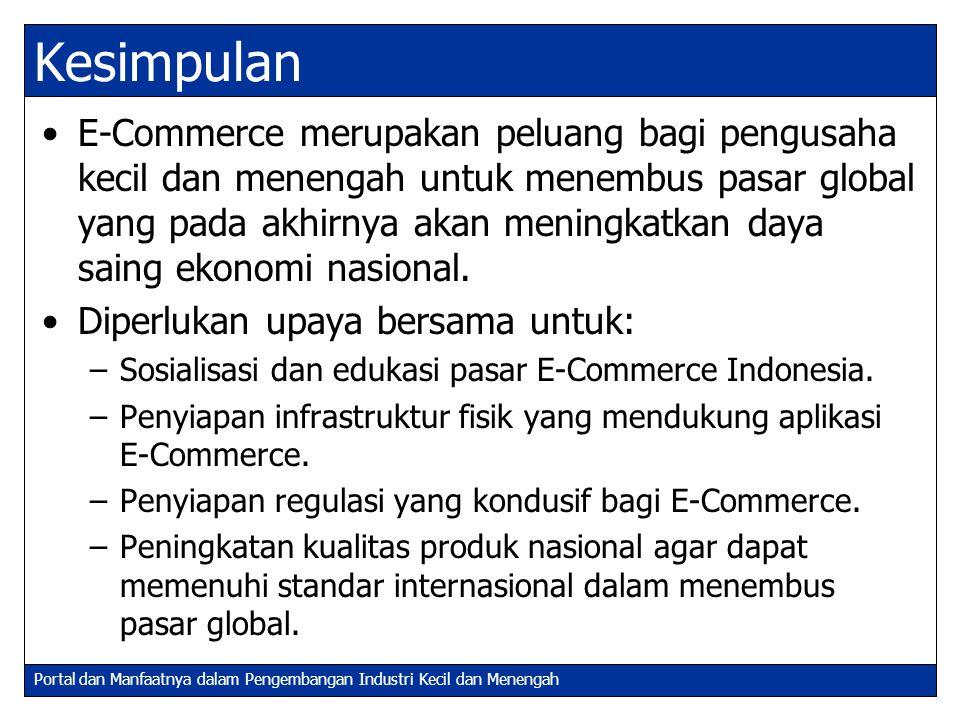 Portal dan Manfaatnya dalam Pengembangan Industri Kecil dan Menengah Kesimpulan E-Commerce merupakan peluang bagi pengusaha kecil dan menengah untuk m