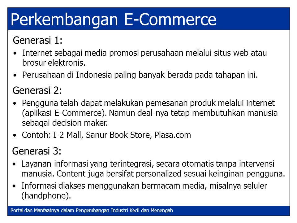 Portal dan Manfaatnya dalam Pengembangan Industri Kecil dan Menengah Transformasi Perkembangan E-Commerce (2) Bisnis bergeser dari model bisnis konvensional (brick and mortar)  online model.