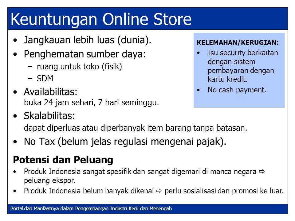 Portal dan Manfaatnya dalam Pengembangan Industri Kecil dan Menengah Keuntungan Online Store Jangkauan lebih luas (dunia). Penghematan sumber daya: –r