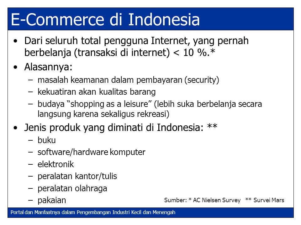 Portal dan Manfaatnya dalam Pengembangan Industri Kecil dan Menengah E-Commerce di Indonesia (2) E-Commerce diperkirakan akan 'booming' di Indonesia pada tahun 2003 dengan total transaksi mencapai USD 1,200 juta.