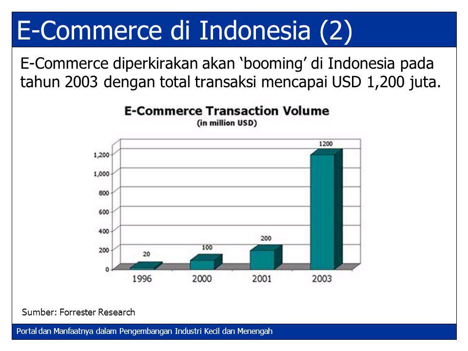 Portal dan Manfaatnya dalam Pengembangan Industri Kecil dan Menengah E-Commerce di Indonesia (2) E-Commerce diperkirakan akan 'booming' di Indonesia p