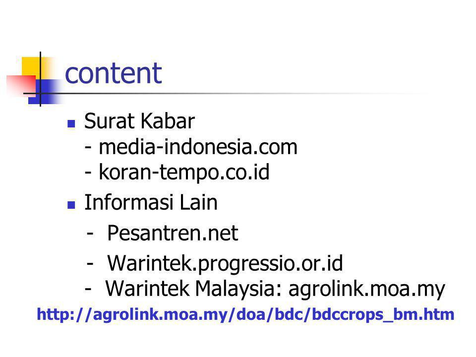 content Majalah - www.teknologi-online.com - www.asri.com - Gria-asri.com - Intisari.com - Mitra-Bisnis.com Surat Kabar - KompasCybermedia - Pikiran-r