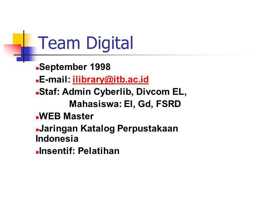 e-klip Berbasis Isis - Mei 2001 - Winisis Versi 1.4 - Full Text Berbasis Windows - Pebruari 2002 - Help Makers - Full Texs + Images Produk - e-klip + Indonesian Library Catalog - Media CD ROM
