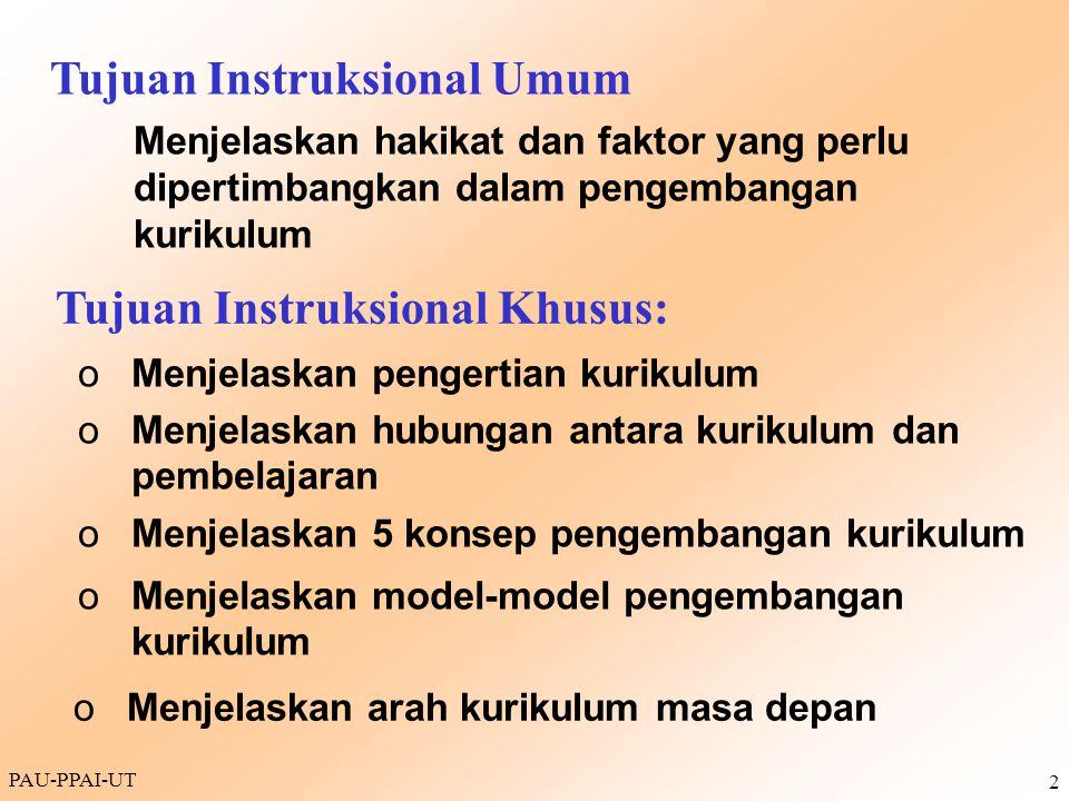 PAU-PPAI-UT 3  Semua yang diajarkan di institusi pendidikan  Sekumpulan mata pelajaran atau mata kuliah yang diajarkan baik di sekolah maupun di luar sekolah (yang diarahkan oleh sekolah)  Sekumpulan mata kuliah yang disusun secara resmi dan sistematis yang merupakan prasyarat untuk sertifikasi