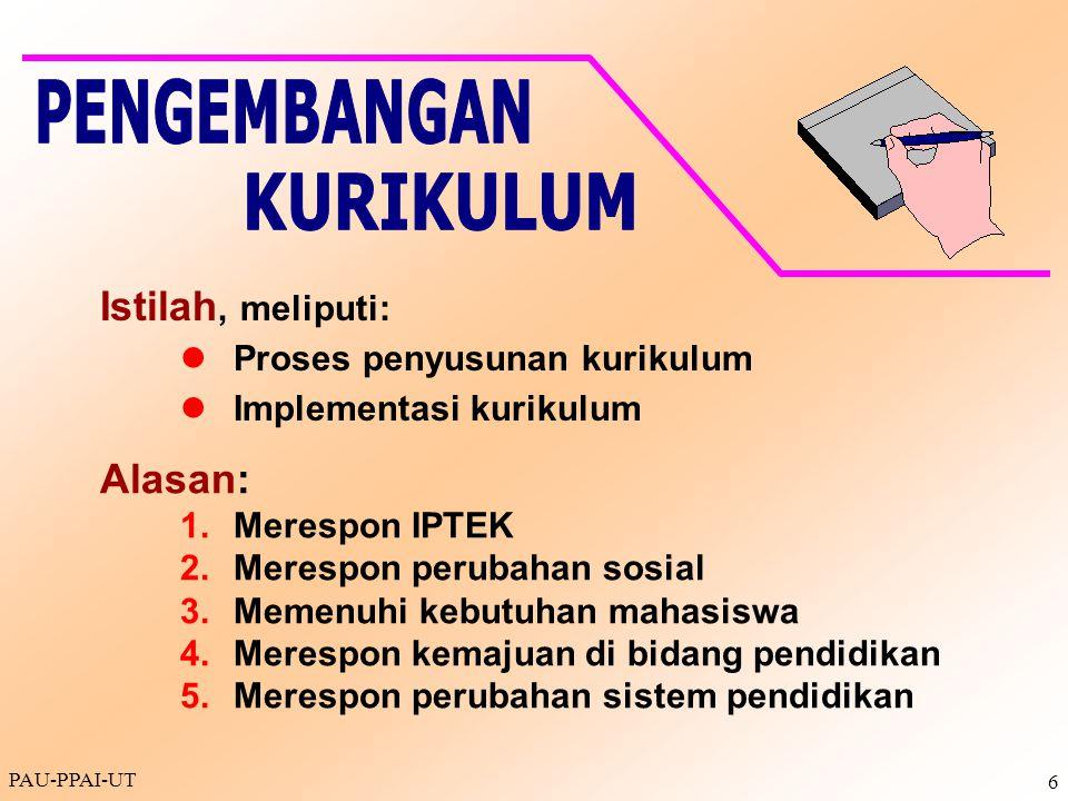 PAU-PPAI-UT 6 Istilah, meliputi: Proses penyusunan kurikulum Implementasi kurikulum Alasan: 1.Merespon IPTEK 2.Merespon perubahan sosial 3.Memenuhi ke
