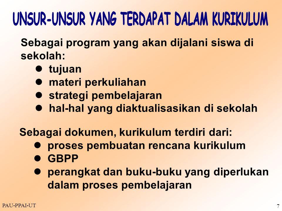 PAU-PPAI-UT 7 Sebagai program yang akan dijalani siswa di sekolah: tujuan materi perkuliahan strategi pembelajaran hal-hal yang diaktualisasikan di se