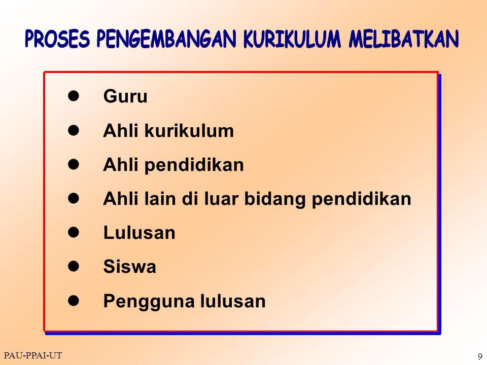 PAU-PPAI-UT 9 Guru Ahli kurikulum Ahli pendidikan Ahli lain di luar bidang pendidikan Lulusan Siswa Pengguna lulusan