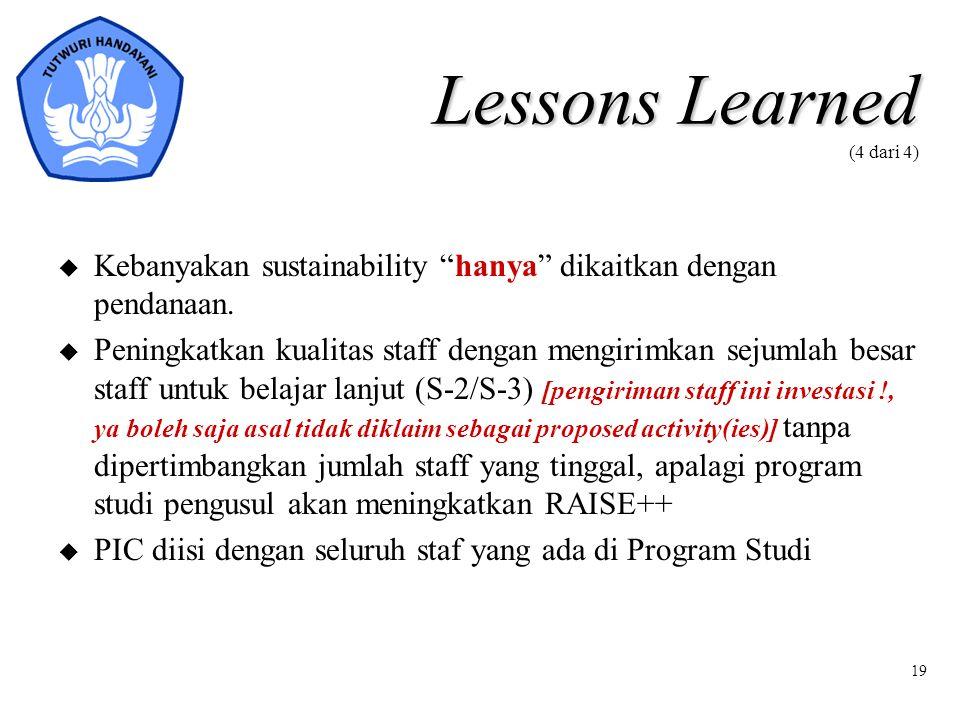 """19 Lessons Learned Lessons Learned (4 dari 4) u Kebanyakan sustainability """"hanya"""" dikaitkan dengan pendanaan. u Peningkatkan kualitas staff dengan men"""
