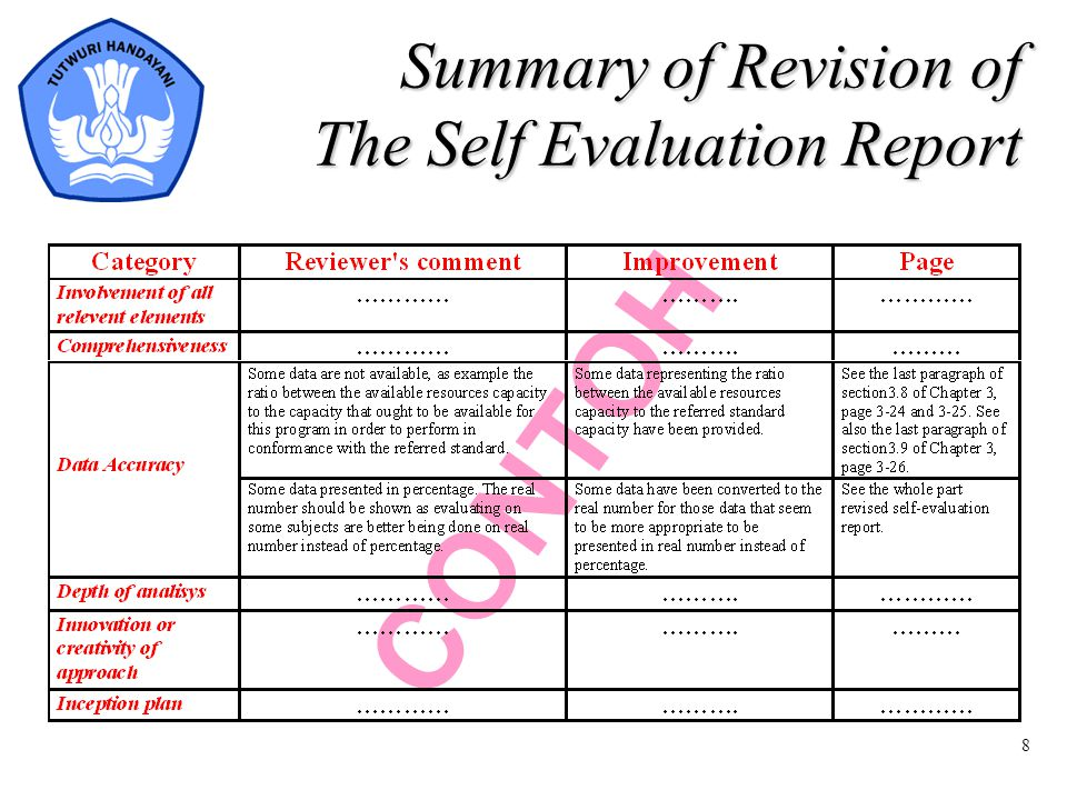 8 CONTOH Summary of Revision of The Self Evaluation Report