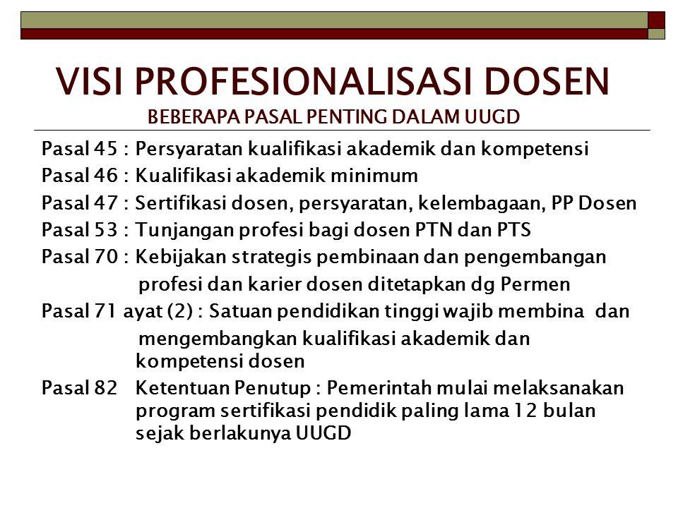 VISI PROFESIONALISASI DOSEN BEBERAPA PASAL PENTING DALAM UUGD Pasal 45 : Persyaratan kualifikasi akademik dan kompetensi Pasal 46 : Kualifikasi akadem