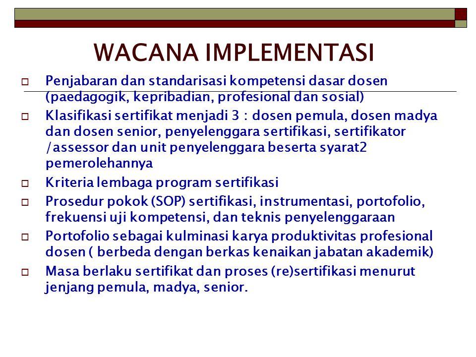 WACANA IMPLEMENTASI  Penjabaran dan standarisasi kompetensi dasar dosen (paedagogik, kepribadian, profesional dan sosial)  Klasifikasi sertifikat me