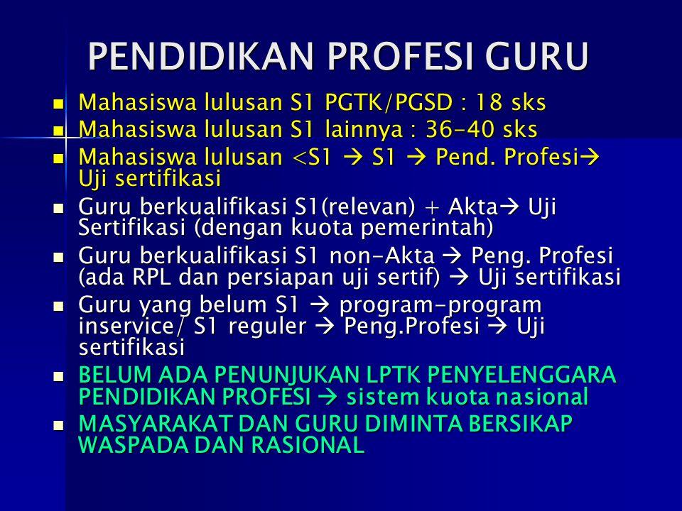 PENDIDIKAN PROFESI GURU Mahasiswa lulusan S1 PGTK/PGSD : 18 sks Mahasiswa lulusan S1 PGTK/PGSD : 18 sks Mahasiswa lulusan S1 lainnya : 36-40 sks Mahas