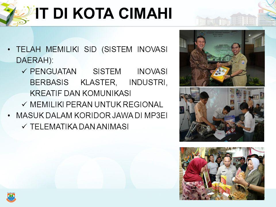 Meningkatkan daya saing dan kohesi sosial Kota Cimahi melalui penguatan sistem inovasi berbasis klaster industri kreatif, komunitas, dan industri rumah tangga yang berdaya saing di pasar global VISI SID KOTA CIMAHI