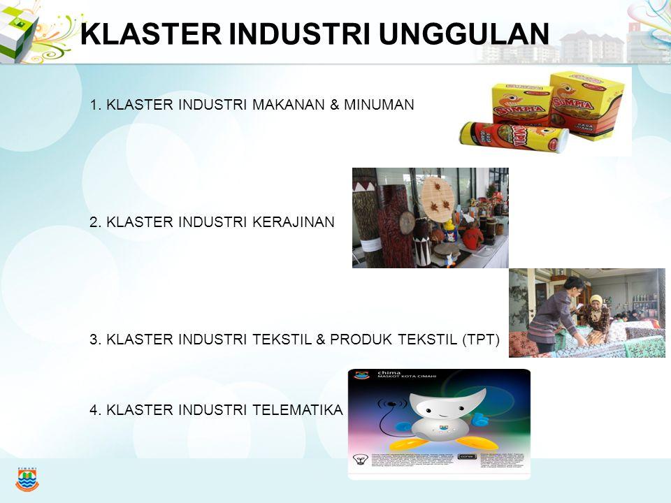 KLASTER INDUSTRI UNGGULAN 1. KLASTER INDUSTRI MAKANAN & MINUMAN 2. KLASTER INDUSTRI KERAJINAN 3. KLASTER INDUSTRI TEKSTIL & PRODUK TEKSTIL (TPT) 4. KL