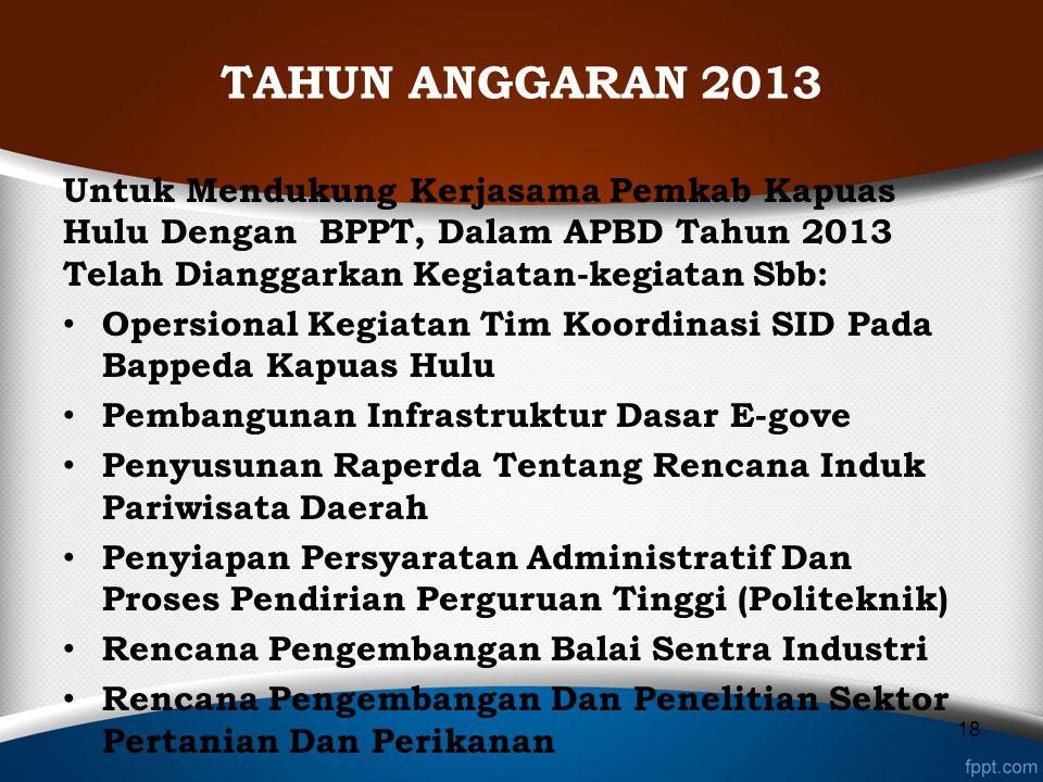 TAHUN ANGGARAN 2013 Untuk Mendukung Kerjasama Pemkab Kapuas Hulu Dengan BPPT, Dalam APBD Tahun 2013 Telah Dianggarkan Kegiatan-kegiatan Sbb: Opersiona