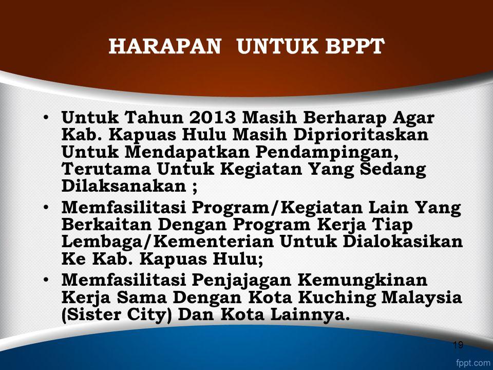 HARAPAN UNTUK BPPT Untuk Tahun 2013 Masih Berharap Agar Kab. Kapuas Hulu Masih Diprioritaskan Untuk Mendapatkan Pendampingan, Terutama Untuk Kegiatan