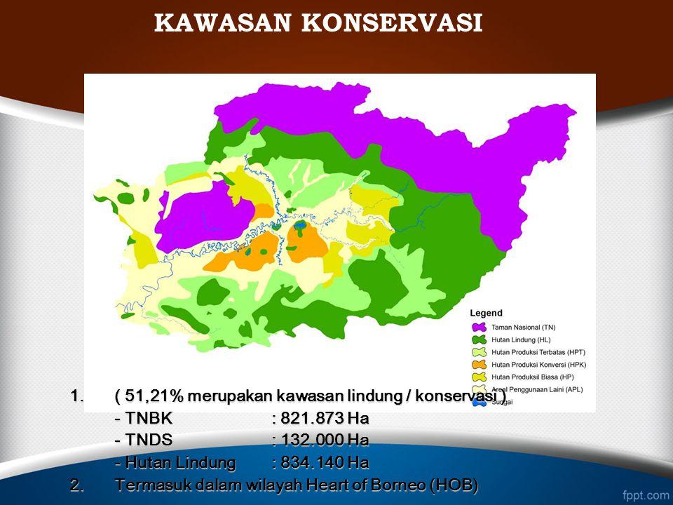 KAWASAN KONSERVASI 1.( 51,21% merupakan kawasan lindung / konservasi ) - TNBK : 821.873 Ha - TNDS: 132.000 Ha - Hutan Lindung: 834.140 Ha 2.Termasuk d