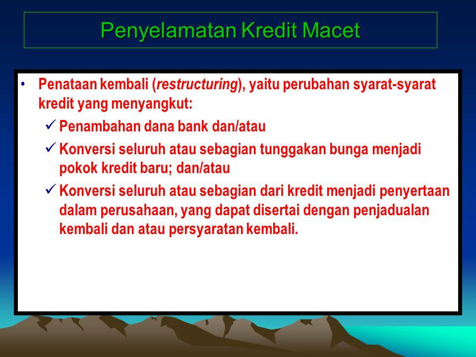 Penyelamatan Kredit Macet Penataan kembali ( restructuring ), yaitu perubahan syarat-syarat kredit yang menyangkut: Penambahan dana bank dan/atau Konv