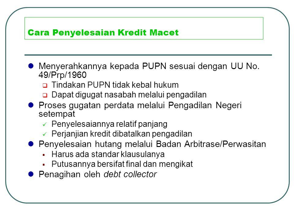 Cara Penyelesaian Kredit Macet Menyerahkannya kepada PUPN sesuai dengan UU No. 49/Prp/1960  Tindakan PUPN tidak kebal hukum  Dapat digugat nasabah m