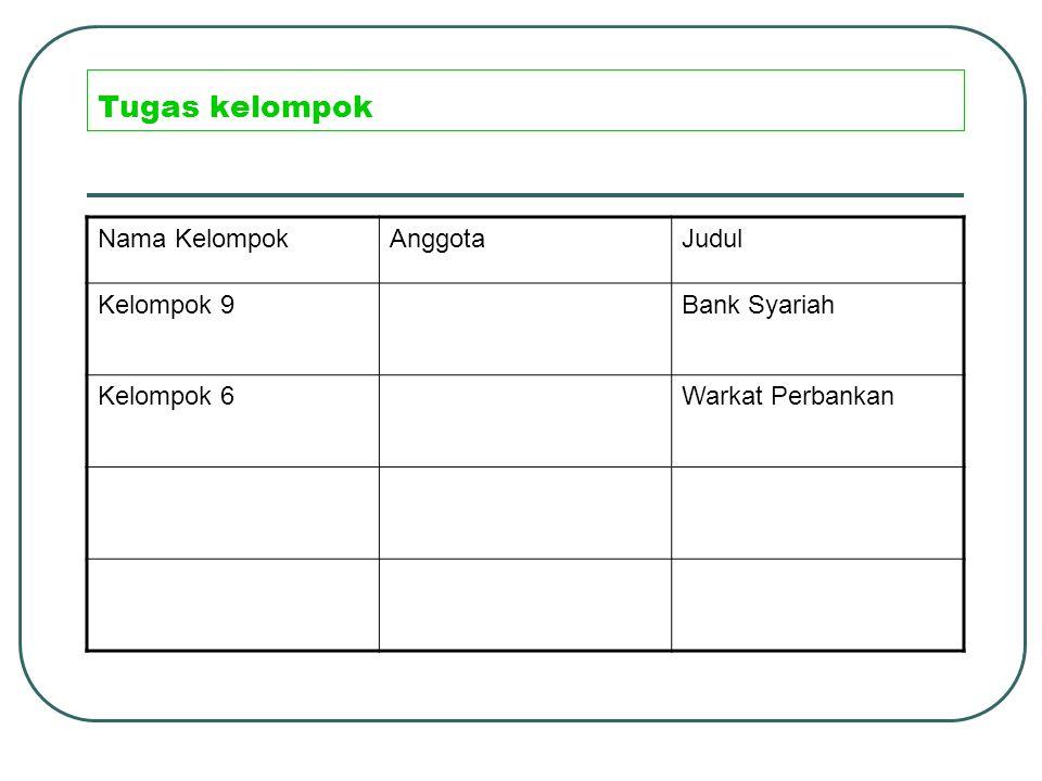 Tugas kelompok Nama KelompokAnggotaJudul Kelompok 9Bank Syariah Kelompok 6Warkat Perbankan