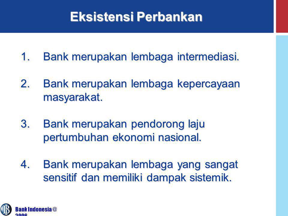 Bank Indonesia @ 2006 Eksistensi Perbankan 1.Bank merupakan lembaga intermediasi.