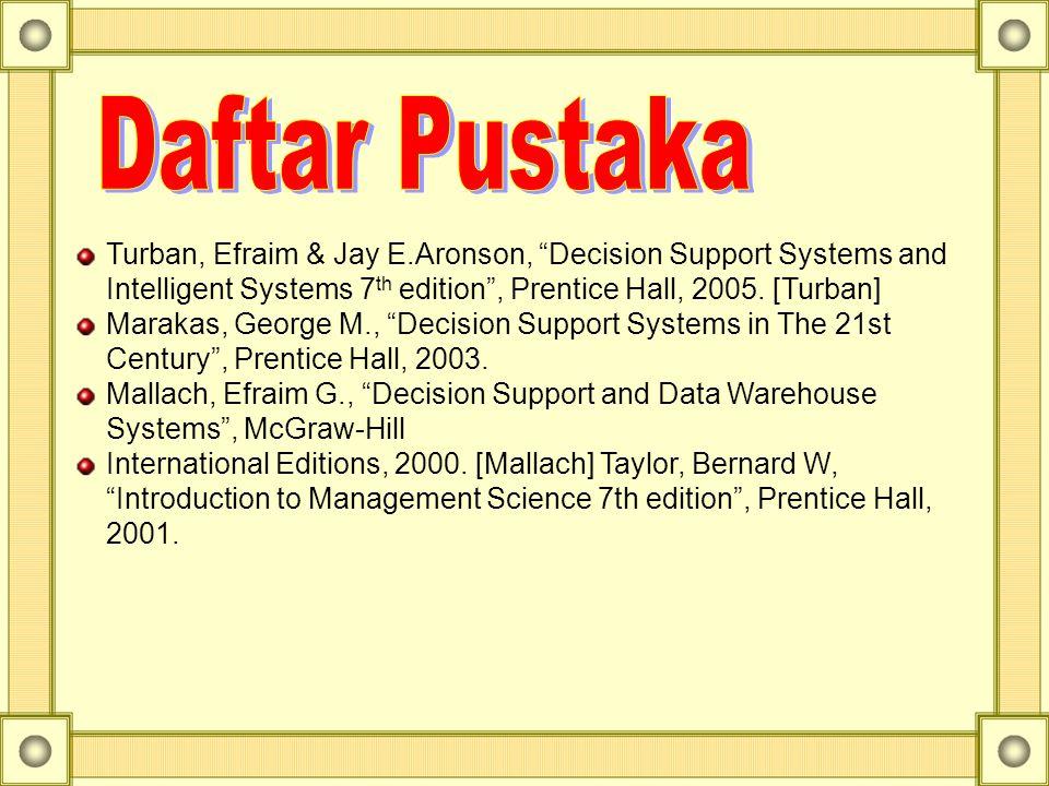 "Turban, Efraim & Jay E.Aronson, ""Decision Support Systems and Intelligent Systems 7 th edition"", Prentice Hall, 2005. [Turban] Marakas, George M., ""De"