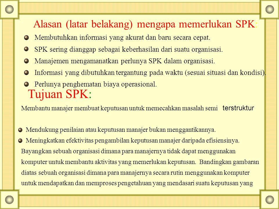 Alasan (latar belakang) mengapa memerlukan SPK: Membutuhkan informasi yang akurat dan baru secara cepat.   SPK sering dianggap sebagai keberhasilan