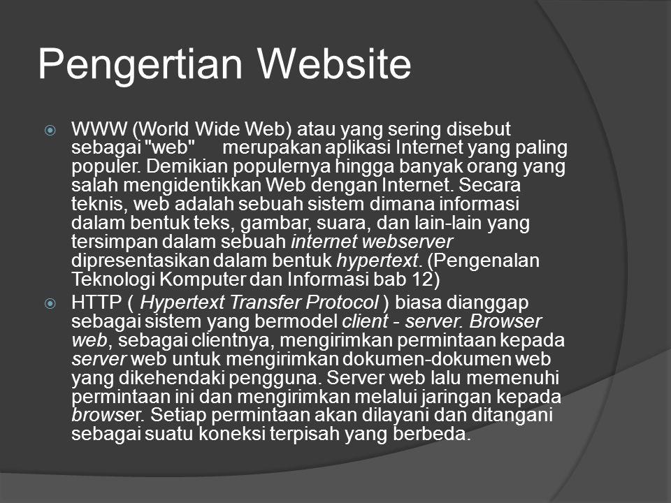 Pengertian Website  WWW (World Wide Web) atau yang sering disebut sebagai web merupakan aplikasi Internet yang paling populer.