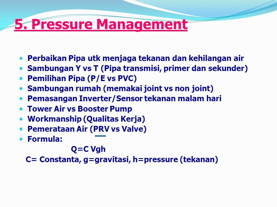 5. Pressure Management Perbaikan Pipa utk menjaga tekanan dan kehilangan air Sambungan Y vs T (Pipa transmisi, primer dan sekunder) Pemilihan Pipa (P/