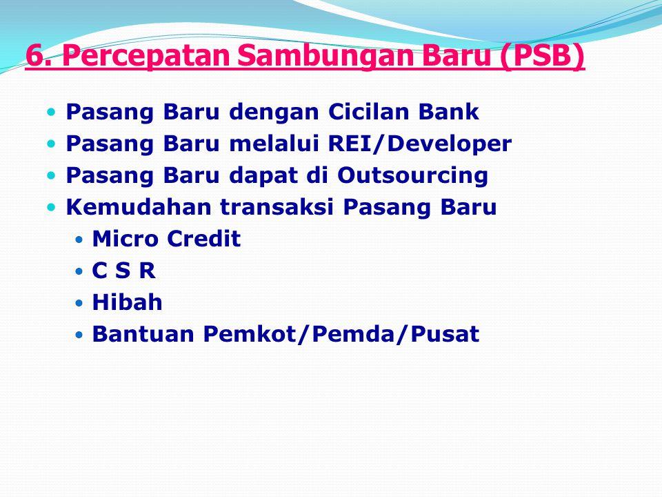 6. Percepatan Sambungan Baru (PSB) Pasang Baru dengan Cicilan Bank Pasang Baru melalui REI/Developer Pasang Baru dapat di Outsourcing Kemudahan transa
