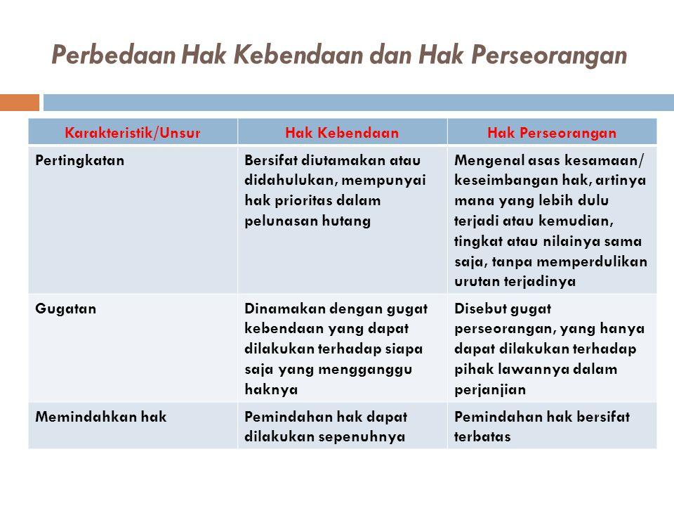 Perbedaan Hak Kebendaan dan Hak Perseorangan Karakteristik/UnsurHak KebendaanHak Perseorangan PertingkatanBersifat diutamakan atau didahulukan, mempun