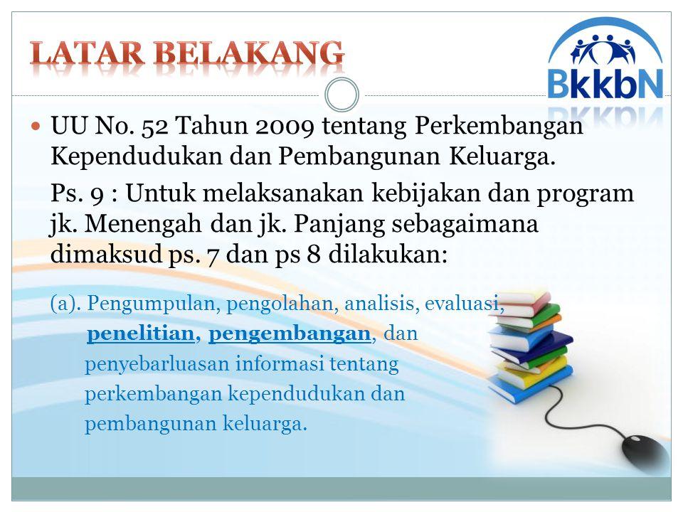 PerKa BKKBN Nomor : 72 Tahun 2011 (pasal 366) Merumuskan dan melaksanakan kebijakan teknis di bidang pelatihan, penelitian, dan pengembangan pengendalian penduduk, keluarga berencana dan kesehatan reproduksi, serta keluarga sejahtera dan pemberdayaan keluarga.
