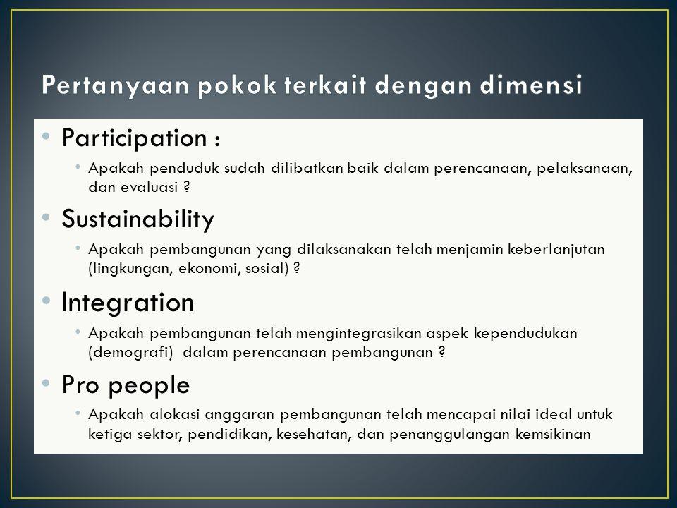 Participation : Apakah penduduk sudah dilibatkan baik dalam perencanaan, pelaksanaan, dan evaluasi .