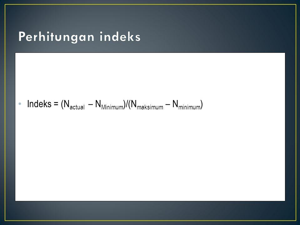 Indeks = (N actual – N Minimum )/(N maksimum – N minimum )