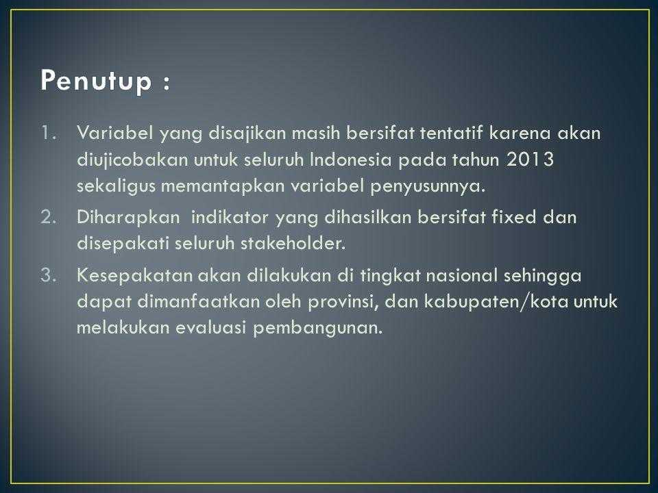 1.Variabel yang disajikan masih bersifat tentatif karena akan diujicobakan untuk seluruh Indonesia pada tahun 2013 sekaligus memantapkan variabel penyusunnya.