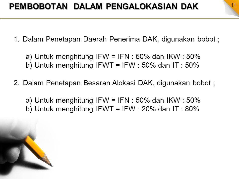 11 PEMBOBOTAN DALAM PENGALOKASIAN DAK 1.Dalam Penetapan Daerah Penerima DAK, digunakan bobot ; a)Untuk menghitung IFW = IFN : 50% dan IKW : 50% b)Untu