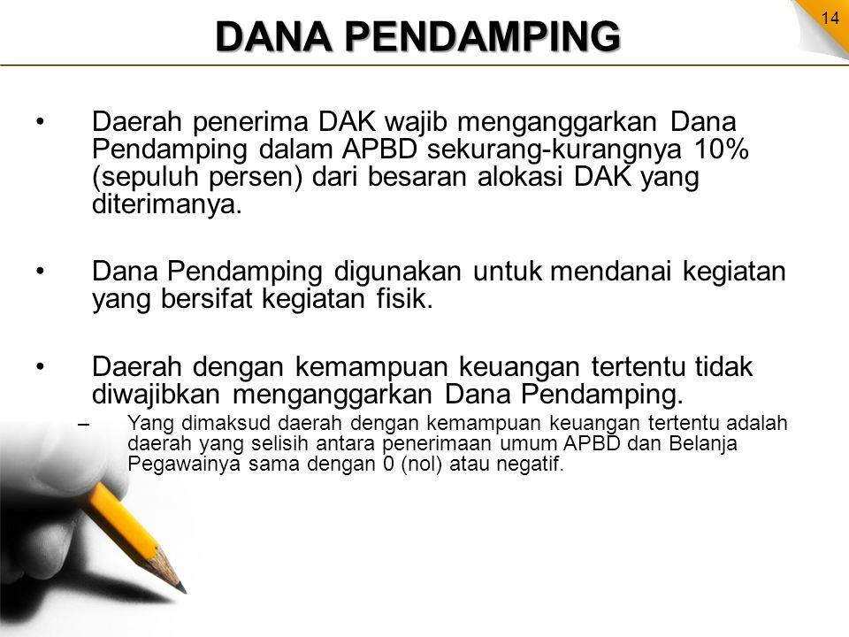 14 DANA PENDAMPING Daerah penerima DAK wajib menganggarkan Dana Pendamping dalam APBD sekurang-kurangnya 10% (sepuluh persen) dari besaran alokasi DAK