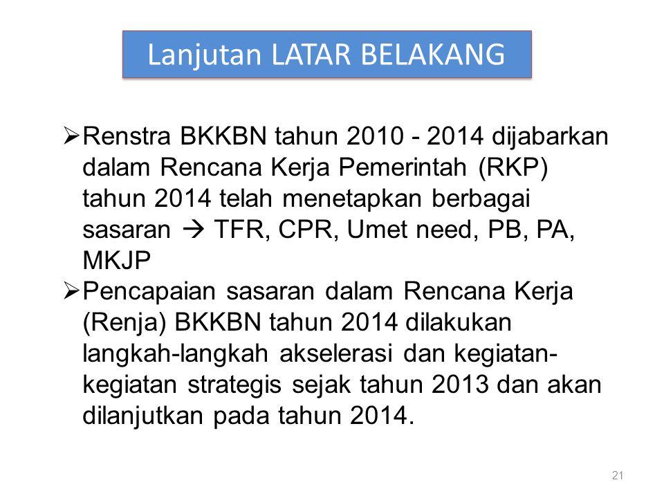 21 Lanjutan LATAR BELAKANG  Renstra BKKBN tahun 2010 - 2014 dijabarkan dalam Rencana Kerja Pemerintah (RKP) tahun 2014 telah menetapkan berbagai sasaran  TFR, CPR, Umet need, PB, PA, MKJP  Pencapaian sasaran dalam Rencana Kerja (Renja) BKKBN tahun 2014 dilakukan langkah-langkah akselerasi dan kegiatan- kegiatan strategis sejak tahun 2013 dan akan dilanjutkan pada tahun 2014.