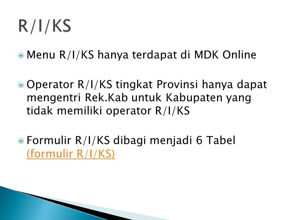 Menu R/I/KS hanya terdapat di MDK Online  Operator R/I/KS tingkat Provinsi hanya dapat mengentri Rek.Kab untuk Kabupaten yang tidak memiliki operat