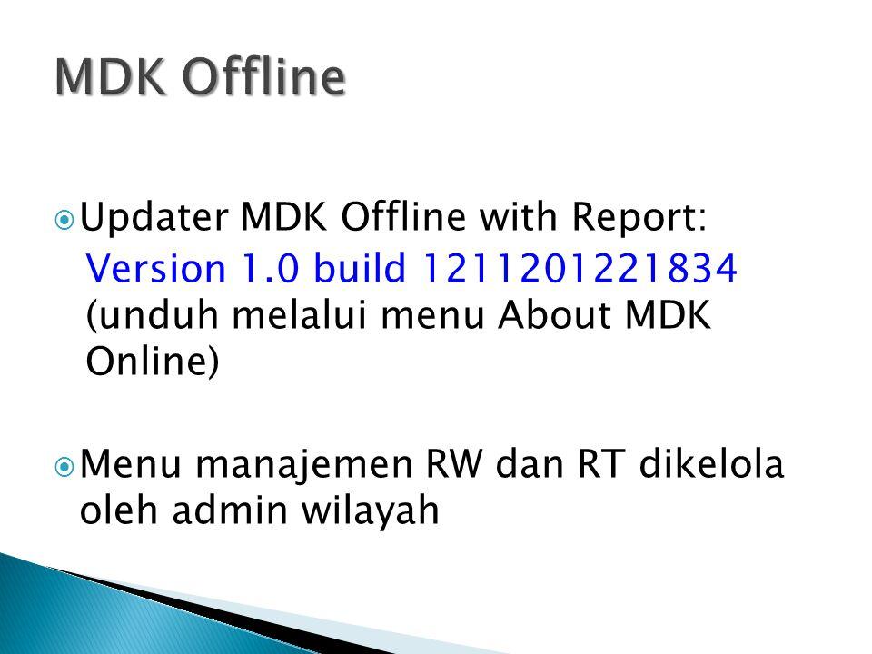  Updater MDK Offline with Report: Version 1.0 build 1211201221834 (unduh melalui menu About MDK Online)  Menu manajemen RW dan RT dikelola oleh admi