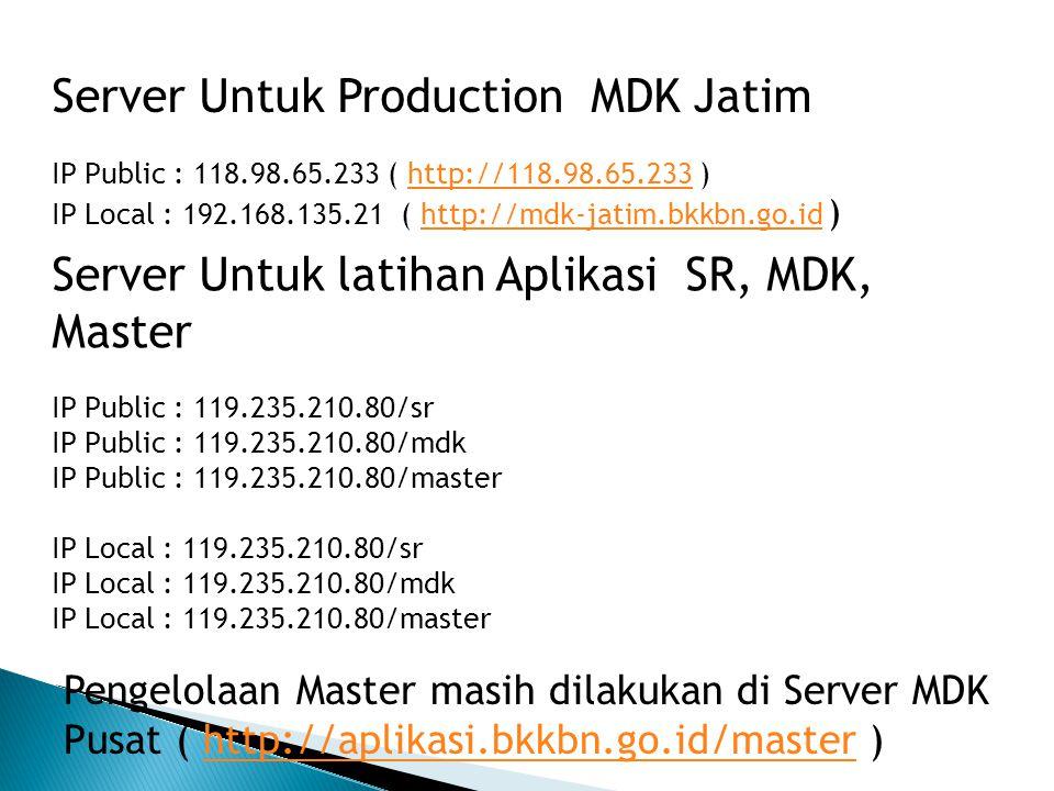 Server Untuk latihan Aplikasi SR, MDK, Master IP Public : 119.235.210.80/sr IP Public : 119.235.210.80/mdk IP Public : 119.235.210.80/master IP Local