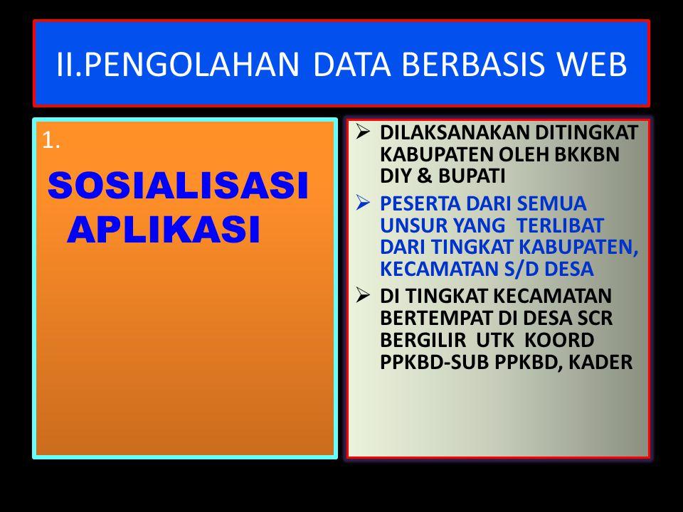 II.PENGOLAHAN DATA BERBASIS WEB 1. SOSIALISASI APLIKASI 1. SOSIALISASI APLIKASI  DILAKSANAKAN DITINGKAT KABUPATEN OLEH BKKBN DIY & BUPATI  PESERTA D