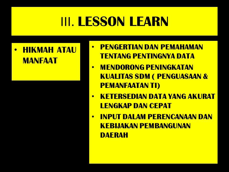 III. LESSON LEARN HIKMAH ATAU MANFAAT PENGERTIAN DAN PEMAHAMAN TENTANG PENTINGNYA DATA MENDORONG PENINGKATAN KUALITAS SDM ( PENGUASAAN & PEMANFAATAN T