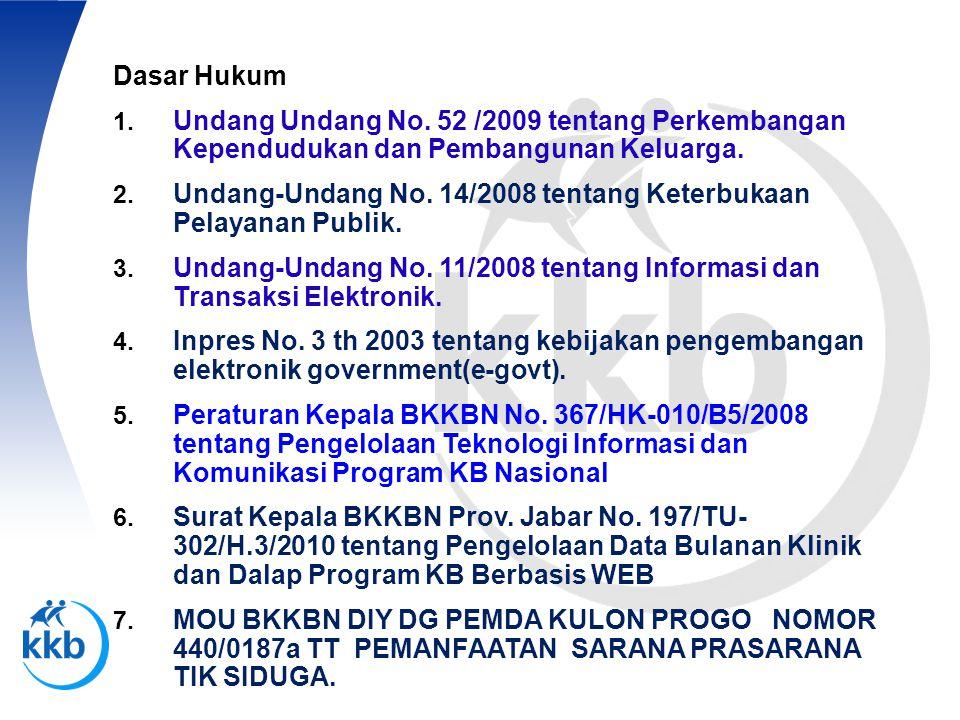 Dasar Hukum 1. Undang Undang No. 52 /2009 tentang Perkembangan Kependudukan dan Pembangunan Keluarga. 2. Undang-Undang No. 14/2008 tentang Keterbukaan