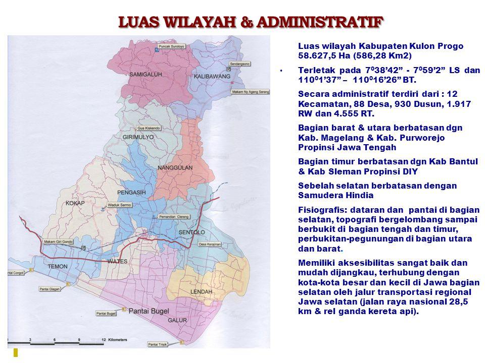 """LUAS WILAYAH & ADMINISTRATIF  Luas wilayah Kabupaten Kulon Progo 58.627,5 Ha (586,28 Km2) Terletak pada 7 0 38'42"""" - 7 0 59'2"""" LS dan 110 0 1'37"""" – 1"""