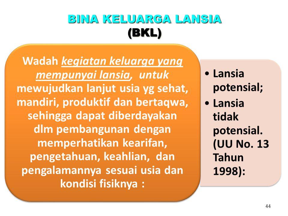 BINA KELUARGA LANSIA (BKL) (BKL) Lansia potensial; Lansia tidak potensial.