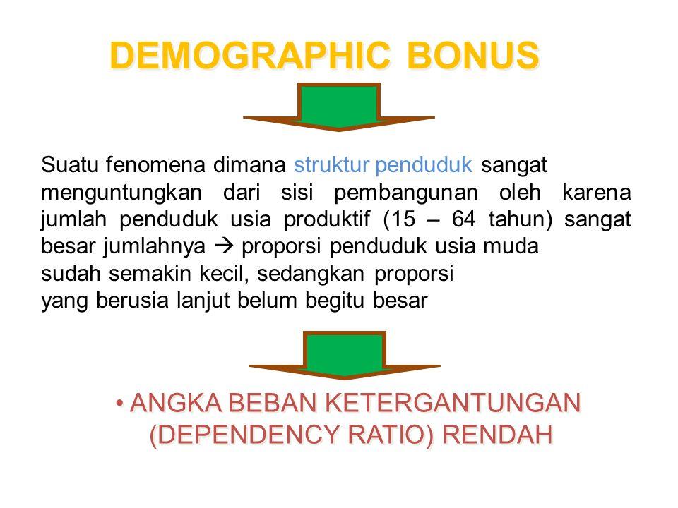Bonus Demografi Dikaitkan dengan munculnya suatu kesempatan, the window of opportunity yang dapat dimanfaatkan untuk menaikkan kesejahteraan masyarakat
