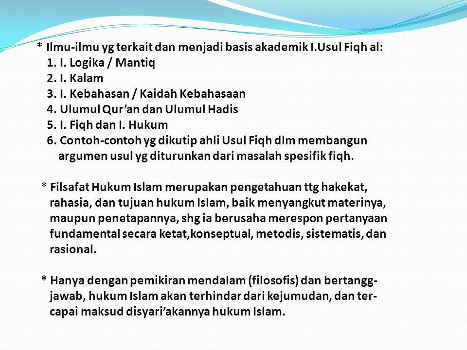 A. SEKILAS TENTANG FIQH, USUL FIQH, DAN FILSAFAT HK ISLM * Fiqh merupakan produk pemikiran hukum Islam, atau formulasi / hasil istimbat hukum Islam ol